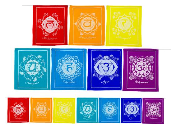 Gebetsfahnen Chakrasymbole